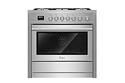 """Empava 36"""" Slide-In Freestanding Single Oven Ga with 5 Sealed Burner Cooktop in Stainless Steel, 36 Inch"""