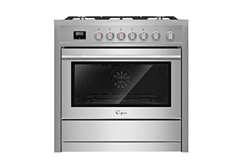 Empava 36 in. Slide-In Gas Range with Convection Oven in Stainless Steel