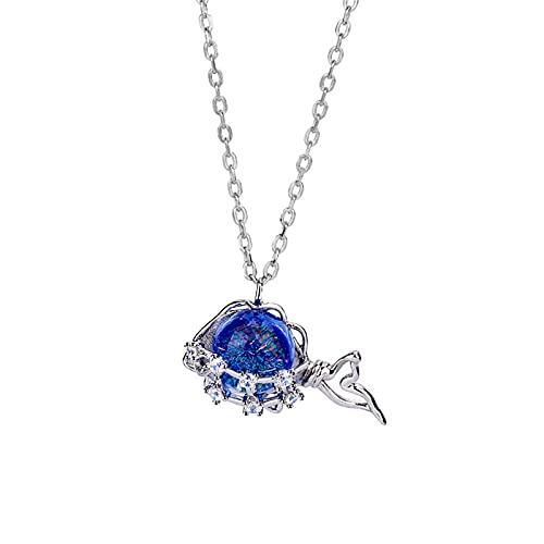 YNING Collar Femenino/Colgante de Collar de Ballena Azul/Plata de Ley S925 / Diseño Hueco con Incrustaciones de Diamantes/Longitud de Cadena Ajustable/Regalo para Niñas, Novia, Buenos Amigos