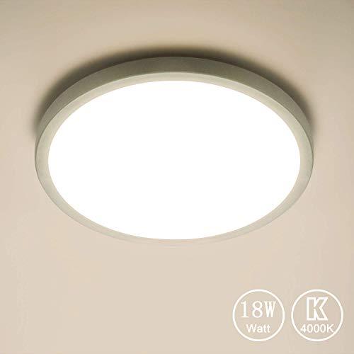 Yafido LED Plafoniera 18W Ultra Magro UFO Pannello LED Tonda Bianco Bianca Naturale 4000K 1620LM Lampada da Soffitto per Soggiorno Camera da letto Bagno Cucina Corridoio e Balcone Ø18cm