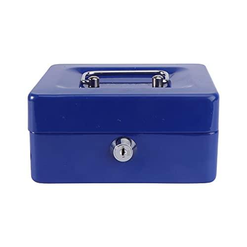 Toyvian Caja de seguridad pequeña de acero con compartimento extraíble, caja de acero para cajero, caja de seguridad, almacenamiento seguro para billetes de divisas (tamaño azul XL)