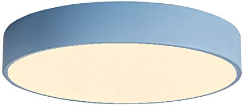 Xihongshi Macarons Deckenleuchte LED Runde Schlafzimmerlampen Modern Minimalist, Balkon, Arbeitszimmerlampe, Esszimmerlampe, DREI Farbtemperatur Blau 30CM