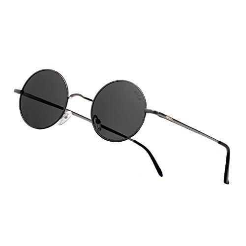 NEEPA John Lennon Vintage Round Polarized Hippie Sunglasses Small Circle Metal Driving Sun Glasses (Grey Lens/Gun Frame)