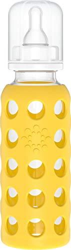 Lifefactory Baby Glas-Trinkflasche mit Sauger Größe 2 (3-6 Monate für Neugeborene), BPA-frei, naturnah, Silikon-Schutzhülle, Borosilikatglas, spülmaschinenfest, 250ml, gelb