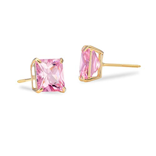 SOLIDGOLD - Genuine 14K Yellow Gold With Pink CZ Stud Earrings | 7mm | 2.60 CTW