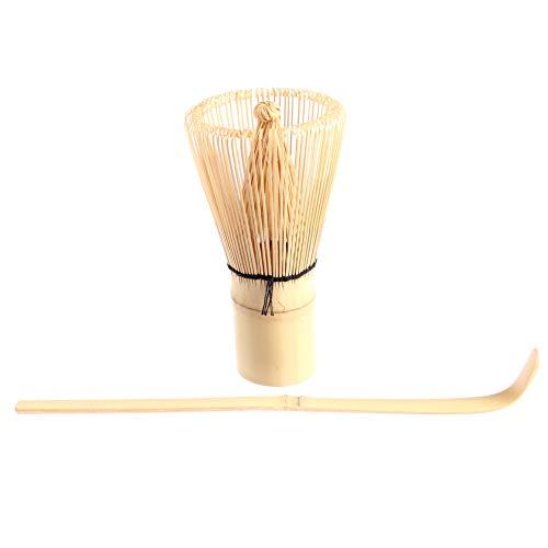 Goodwei Matcha Set: Japanischer Matcha-Besen Chasen und Matcha-Löffel Chashaku aus Bambus (120 Weiß)
