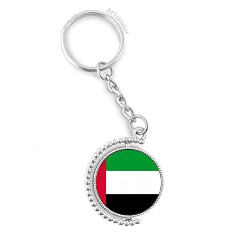 DIYthinker Men Verenigde Arabische Emiraten Nationale Vlag Azië Land Roteerbare Sleutelhanger Ring sleutelhouder 1,2 inch x 3,5 inch Multi kleuren
