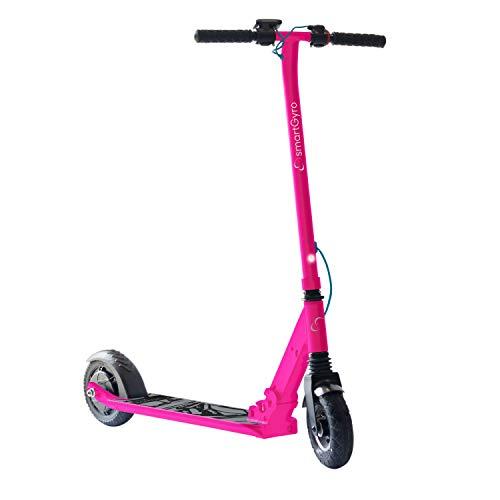 """Patiente eléctrico SmartGyro Xtreme XD Patín eléctrico para niños y jóvenes, ruedas 8"""", 3 velocidades, plegable, ligero, autonomía de 18 Km, batería de litio, freno eléctrico, Scooter, luces traseras, Rosa"""