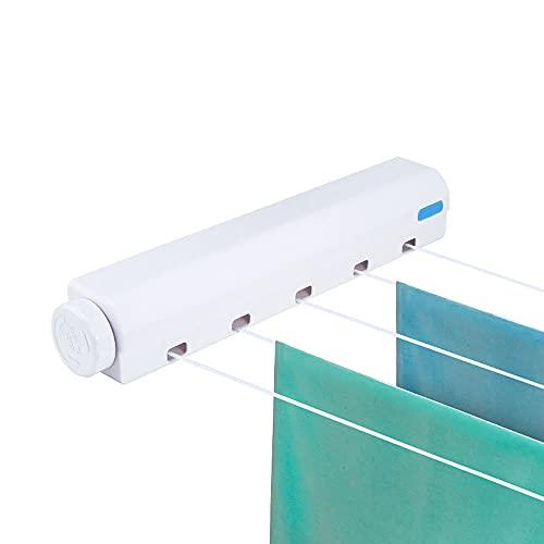 Ximger Tendedero retráctil portátil de alta resistencia para secar la ropa extensible montado en la pared, para interiores y exteriores, jardín, patio (5 cableados)