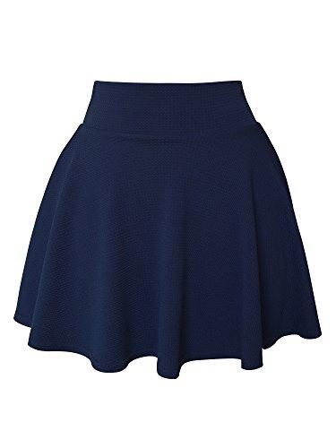 SYEEGCS Falda Mini Corta para Mujer Elástica Plisada Básica Estilo Patinador Multifuncional - Armada