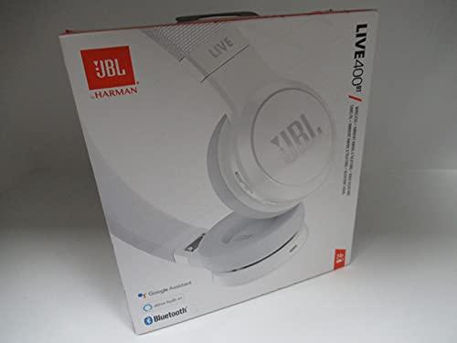JBL Live 400BT - Auriculares inalámbricos con Bluetooth con Control para Llamadas - con Amazon Alexa Integrado - Autonomía hasta 24 Horas - Blanco