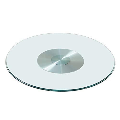 HMQQ Lazy Susan Plato Giratorio De Cristal Redondo para Mesa De Comedor,Superficie Lisa Fácil De Limpiar,Base De Aleación De Aluminio