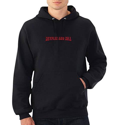 Netflix and Kill Chill Funny Quote Kapuzenpullover Kapuzen Pullover Weihnachten Geschenk SM Black Hoodie