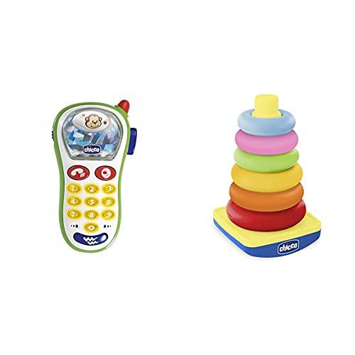 Chicco Telefonino Vibra E Scatta, Primo Telefono Con Luci E Suoni, 60067 & Gioco Torre Degli Anelli, Dindolino, Impilabile, 6-36 Mesi