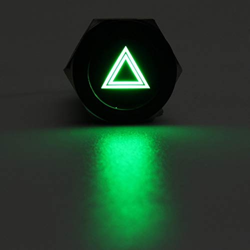 XXYHYQHJD 19 mm del Coche LED Interruptor de botón 12V Luz de Advertencia Interruptores Auto-Bloqueo momentáneo Impermeable for el Barco del Carro (Color : Verde, Size : Gratis)
