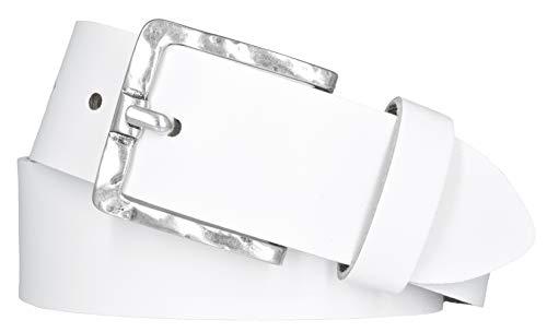 Mytem-Gear Damen Leder Gürtel Belt Ledergürtel Rindleder weiß 40 mm Damengürtel (105 cm, Weiß)