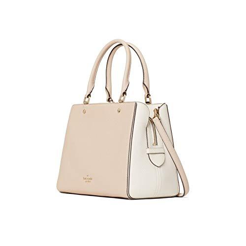 Kate Spade Leila Medium Triple Compartment Satchel Crossbody Bag Purse Handbag (Warm Beige)