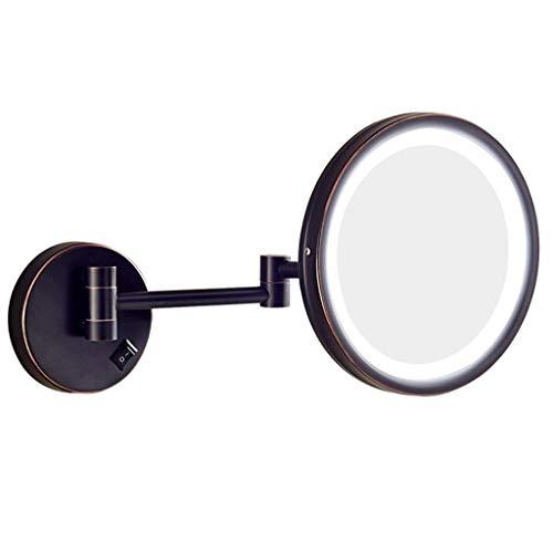 Make-up spiegel, spiegel, uittrekbaar, make-upspiegel, vergrootglas, wandmontage, met LED-verlichting voor de badkamer C