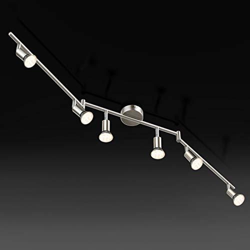 Faretti LED da soffitto orientabili, Plafoniera LED, luce bianca calda,lampadario moderno in metallo cromato per cucina o camera da letto, include 6 lampadine LED GU10 da 3.5W, 380Lm,230V