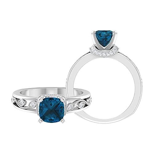 Anillo de compromiso vintage de 7 mm, anillo solitario de corte cojín de oro blanco, Metal, Topacio azul - Londres,