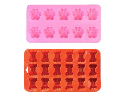 2 Pack Combo Silicone Molds Trays with Puppy Mini Dog Paw and Mini Bone Shape, Homemade Dog Treats, Baking Chocolate Candy, Oven Microwave Freezer Safe