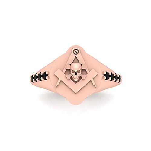Anillo de compromiso de oro rosa macizo de 18 quilates, diseño de calavera masónica, unisex