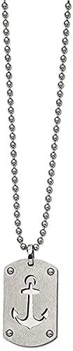 LKLFC Collar para Mujer Collar para Hombre Colgante Collar de Plata esterlina con Etiqueta de Perro Ancla cepillada y Pulido Collar con Colgante de 24'Regalo para niñas y niños