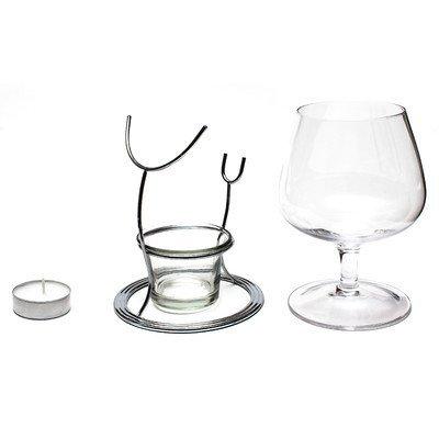CKB LTD® Set of 2 Brandy & Cognac Snifter Warmer Glasses Brandy Gläser Cognacgläser & Schwenker Brandy-Glas Stand Gift Set Wärm-Ständer, Teelicht & Teelichthalter - 2