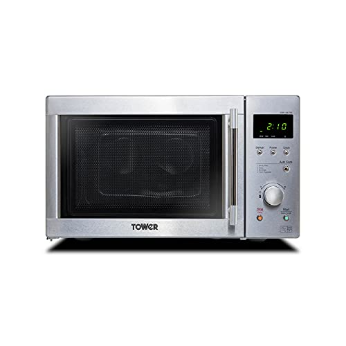 Tower KOR6N7RST Solo Digital Microwave with Dual Wave, Defrost, 800W, 20 Litre, Stainless Steel