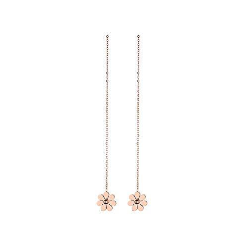 Temperamento de acero de titanio pequeñas flores pequeñas margarita borla pendientes de oro rosa pendientes largos pendientes joyería