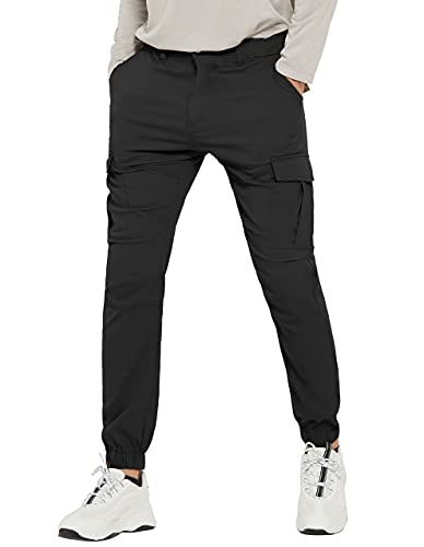 PULI Men's Hiking Cargo Pants Slim Fit Stretch Jogger Cycling Waterproof Outdoor Trousers with Pockets Black 32