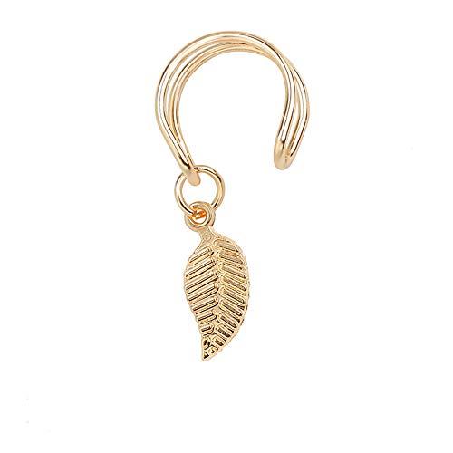 Ellepigy Pendientes Clip Creativo Aleación Peligro Hojas Clip Ear Cuff Jewelry Fake Piercing Niña Regalo, Aleación, Dorado, Talla única
