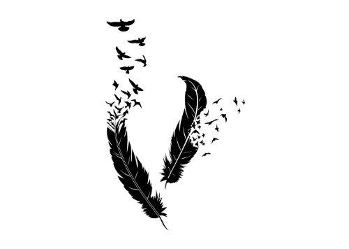 Wandtattooladen Wandtattoo - Feder-Vogelschwarm Größe:53x80cm Farbe: Schablone