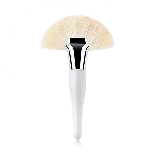 KDBHM Pinceau de Maquillage 1 Pcs Grand Fan Brush Noir/Blanc Synthétique Cheveux Surligneur Poudre Blush Foundation Professionnel Outil De Beauté du Visage,Blanc