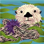 JGS Sea Otter and Urchin Ceramic Wall Art Tile 8x8 Trivet