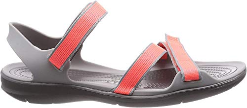 Crocs Damen W Swiftwater Webbing Sandal 204804 Badeschuhe, Orange (Orange 204804-6pk), 37/38 EU