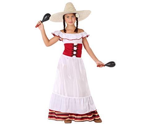 Atosa-60085 - Costume da messicana 3-4, da bambina, 60085, da 3 a 4 anni, colore: Bianco