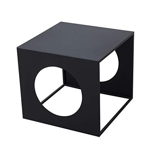 Mesa de café pequeña de hierro/mesa auxiliar, elegante estilo minimalista, fácil de combinar, adecuada para balcón, estudio, dormitorio, sala de estar, oficina, cuadrado, negro