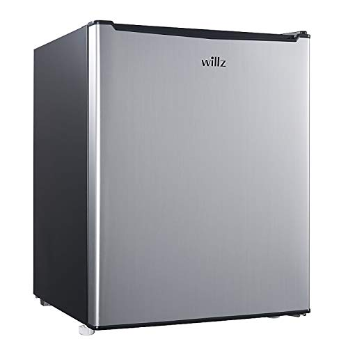 Willz WLR27S5 Compact Refrigerator, 2.7 Cu.Ft Single Door Fridge Adjustable Mechanical Thermostat with Chiller, 1 Coated Wire Slide-Out Shelf, 1 Power Cord, Stainless Steel Look, Cu Ft