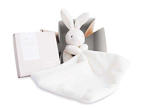 Doudou et Compagnie 303 - Conejo de peluche con mantita de arrullo en caja de regalo, color beige