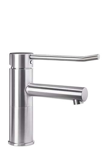 Mitigeur de lavabo Wagner ewar longue levier de commande HD Wa 100–1 Acier Inoxydable, Edelstahl poliert