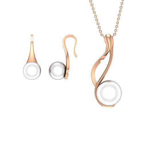 Rosec Jewels 18 quilates oro rosa redonda White Perla de agua dulce
