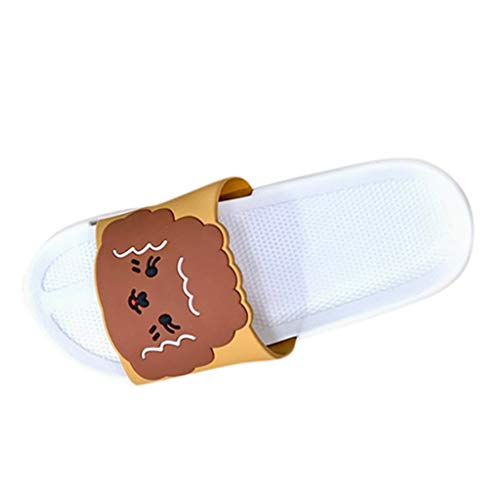 WUSIKY Damen Hausschuhe Unisex Modetrend Niedliche Muster Set Zehen Flip Flops Plus Size Home Hausschuhe Strand Modisch Bequem Sandalen Weiß 42-43