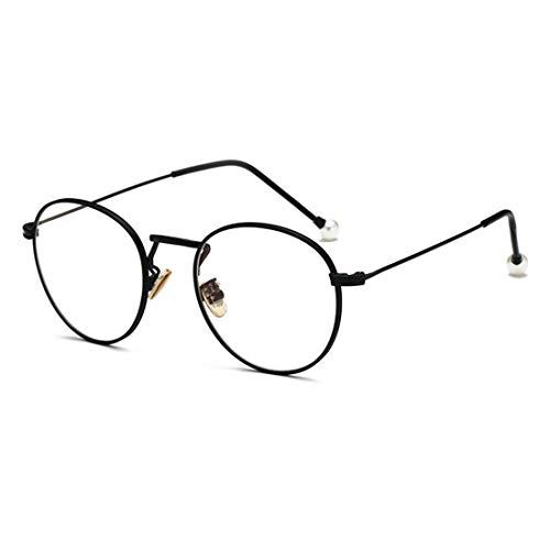 Olprkgdg Anti-Blue Light Glass Pearl Spiegelbeine für Männer und Frauen Brillengestell Anti Blue Light Brille (Color : Black)