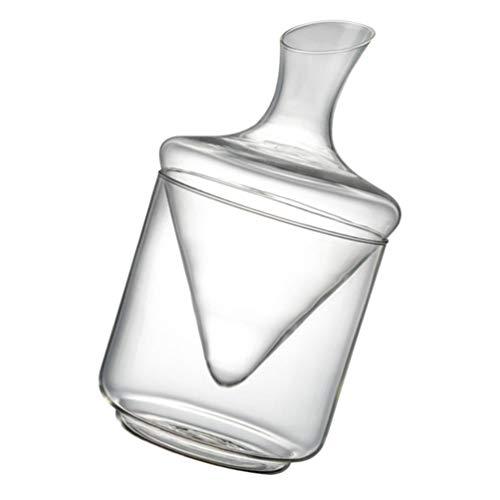 Cabilock Decantador de uísque de vidro soprado à mão, garrafa de vinho tinto de cristal transparente distribuidor de bebidas para decoração de bar