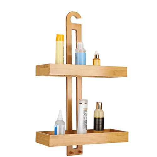 Estantería de ducha de madera de bambú con 2 cestas de ducha y 2 ganchos para colgar sin necesidad de taladrar sobre la puerta de la ducha o la ducha, grifo para baño o cocina