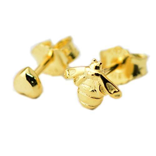 MOCCI 2018 Frühlings-Gelb-Goldherz-u. Bienen-Bolzen-Ohrring-925 silberne DIY Passt für ursprüngliche Pandora-Charme-Armbänder Art- und Weiseschmucksachen