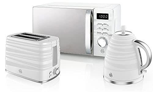 Swan Symphony Kettle, Microwave, and 2-Slice Toaster Set in White, Contemporary Design, Easy Control, Energy Efficient, STRP1025WN