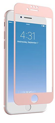 ZAGG InvisibleShield Glass + Luxe Screen Protector for Apple iPhone 8, iPhone 7, iPhone 6s, iPhone 6 – Extreme Impact and Scratch Protection – Rose Gold