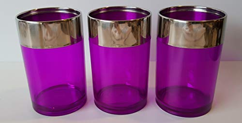 Testrut Zahnputzbecher lila mit Silberrand Kunststoff ca. 11 cm hoch Dm. ca. 7 cm (3 Stück)